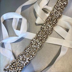 Beautiful Silver Beaded Wedding Belt